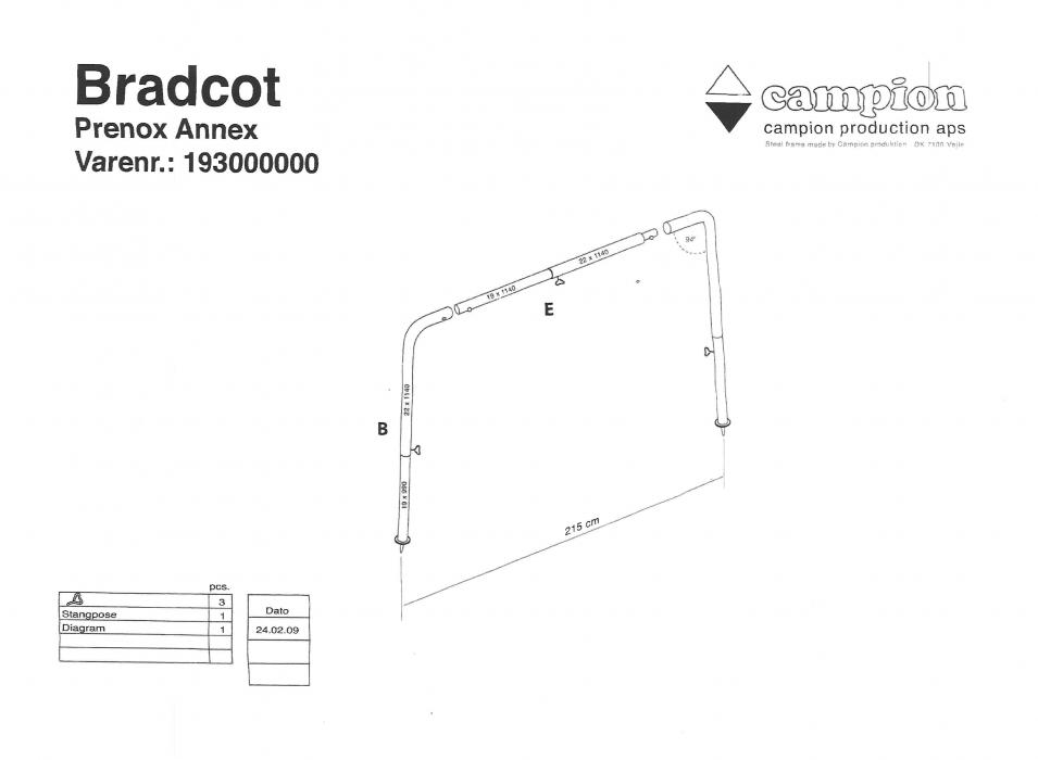 Steel Prenox Annexe Frame Standard Bradcot Awnings