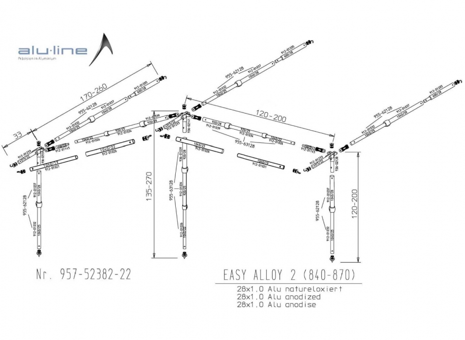 Easy System Alloy Frame Size 2 840cm 870 Bradcot Awnings
