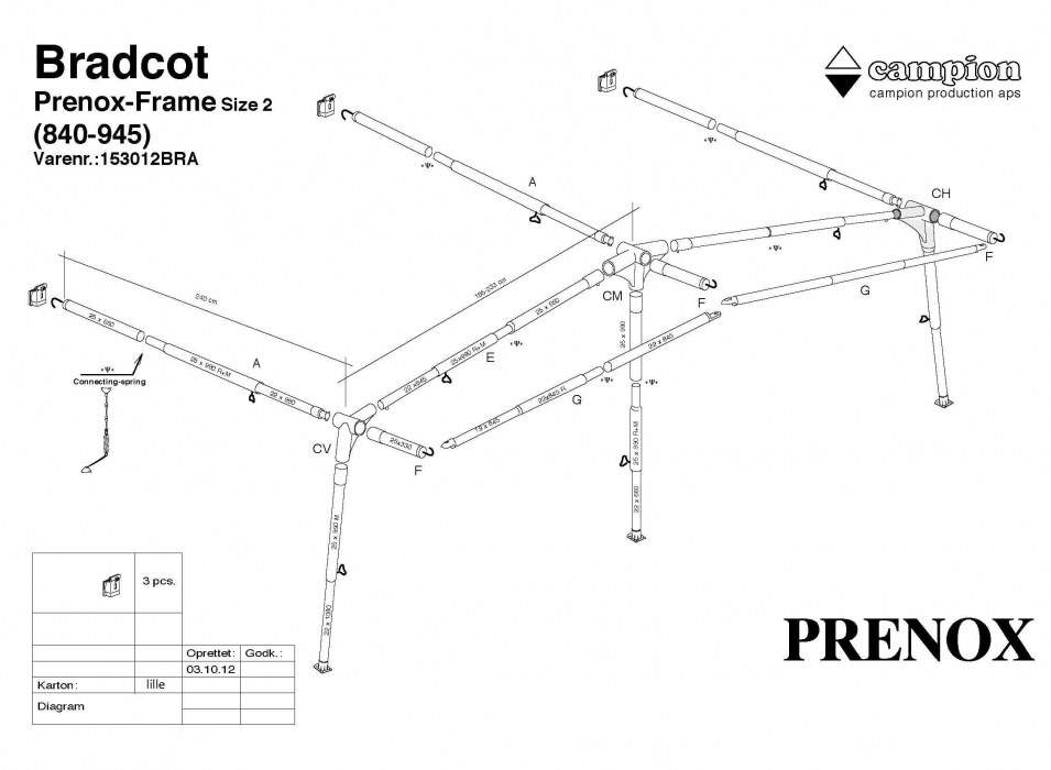 Prenox Steel Frame Size 2 840cm 945cm Bradcot Awnings
