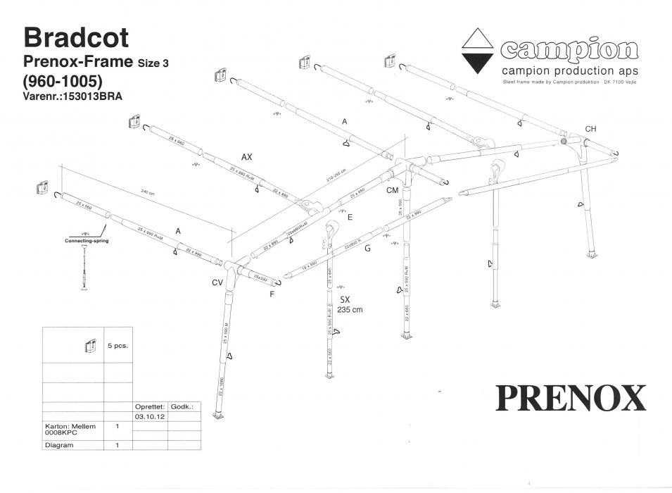 Prenox Steel Frame Size 3 960cm 1005cm Bradcot Awnings